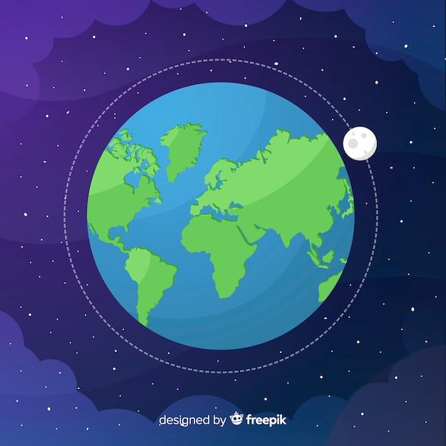 宇宙での地球のデザイン 無料ベクター