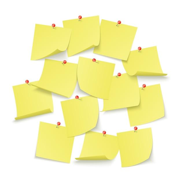 빨간색 핀이 달린 빈 노란색 스티커가 달린 알림 보드 디자인 프리미엄 벡터