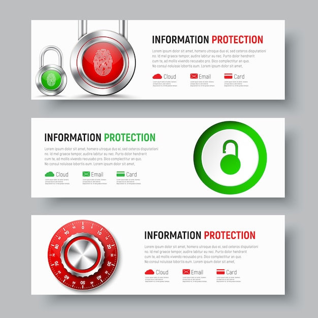 Дизайн белых баннеров для защиты данных и информации Premium векторы