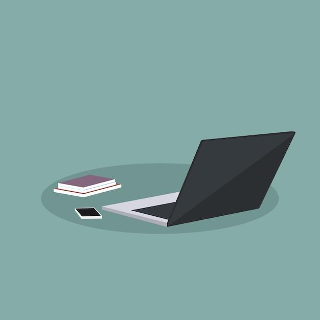 Design of office supplies with laptop Premium Vector