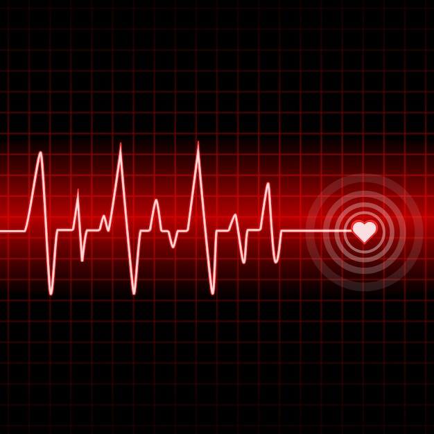 Design outline heartbeat with background Premium Vector