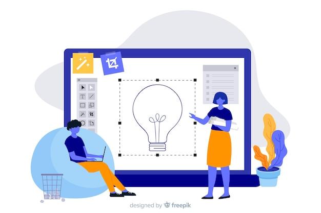 Design process landing page concept Free Vector