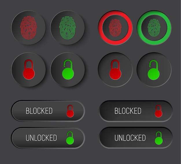 Design of round buttons and rectangular rounded corners Premium Vector