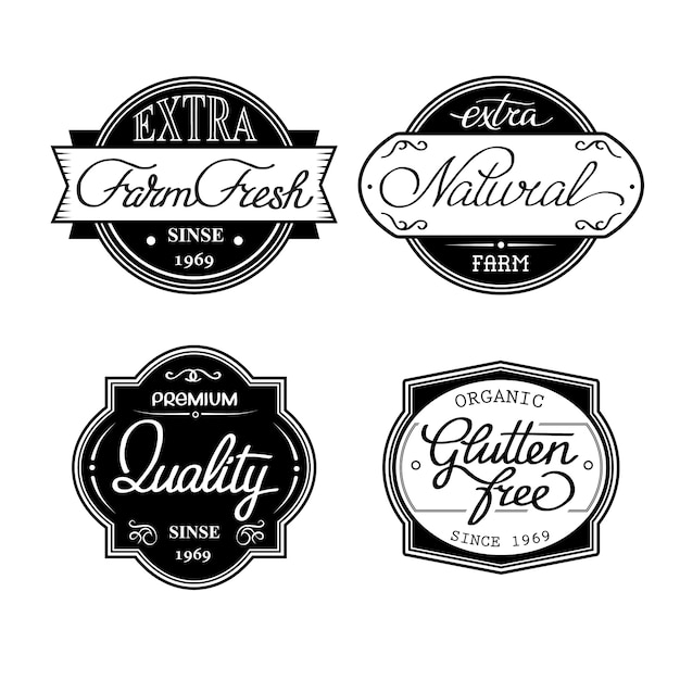 Design set of universal bottle labels isolated on the white background Free Vector