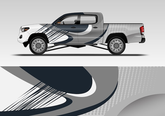 Design of sport car wrap Premium Vector