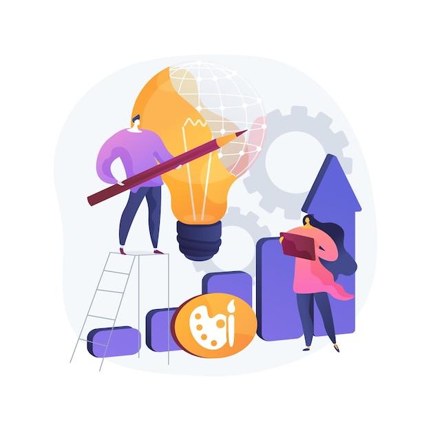 디자인 전략 추상적 인 개념 그림입니다. 디자인 계획 개발, 프로젝트 아이디어 구현, 프로젝트 요구 사항, 웹 및 디자인, 그리기 소프트웨어 앱 무료 벡터