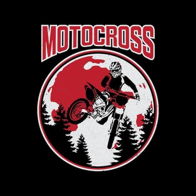 Design of tee motocross vector Premium Vector