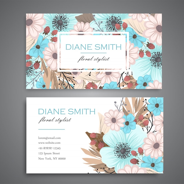 Design template business card template with colorful texture and flower, leaf, herb. Free Vector