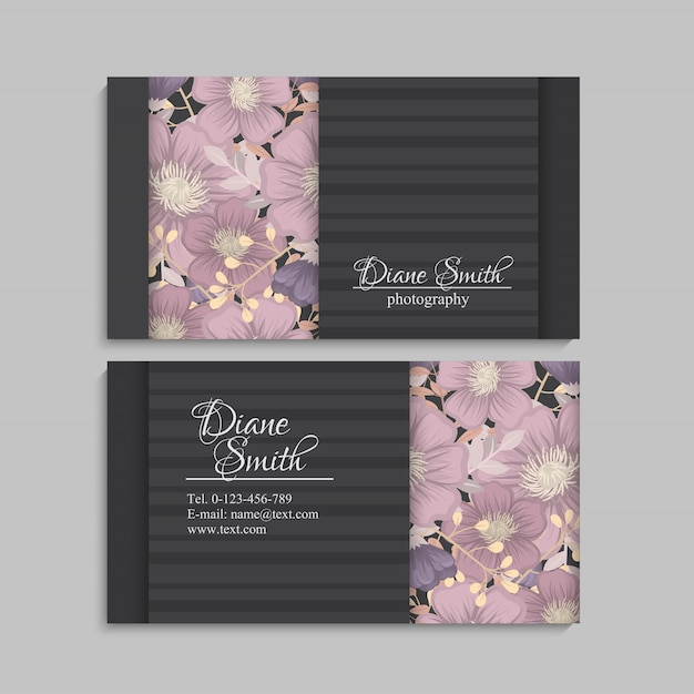 Design template business card with colorful texture and flower, leaf, herb. Free Vector