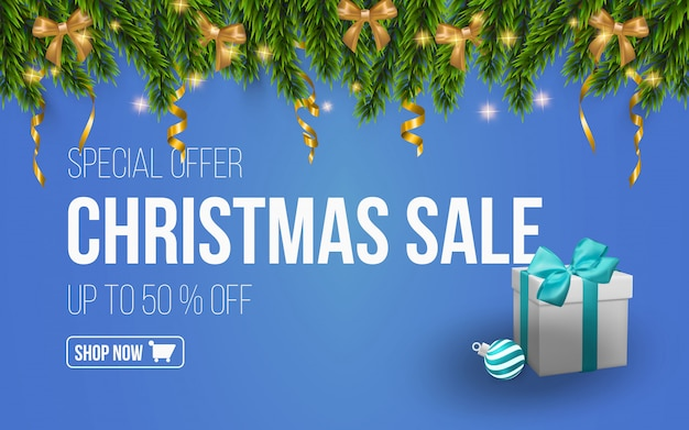 Design template for the christmas sales sea Premium Vector