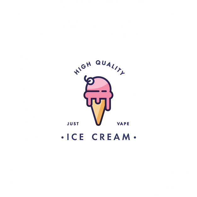 Design template logo and emblem - taste and liquid for vape - ice cream. logo in trendy linear style. Premium Vector
