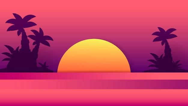 熱帯の夕日。夏のイラスト。夏のビーチdesign.tropicalヤシの木 Premiumベクター