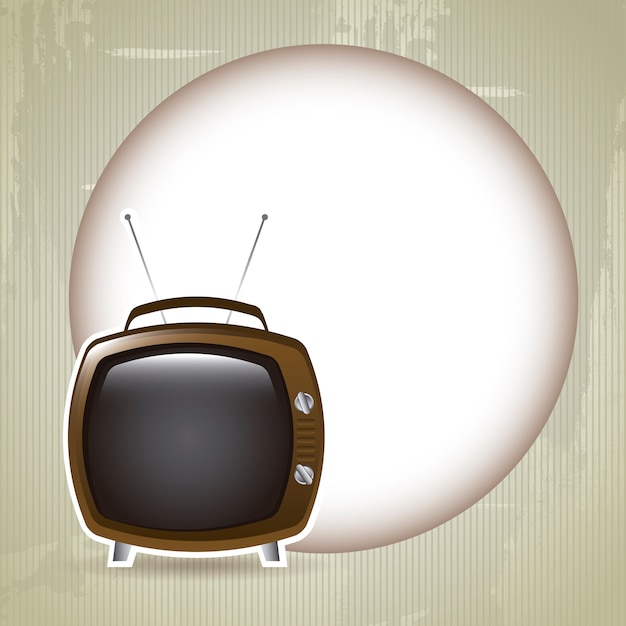 Design tv over moon background vector illustration Premium Vector