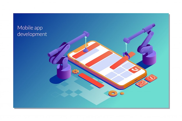 Design website  concept app development Premium Vector