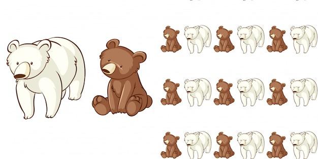 シームレスパターンのクマとシロクマのデザイン 無料ベクター