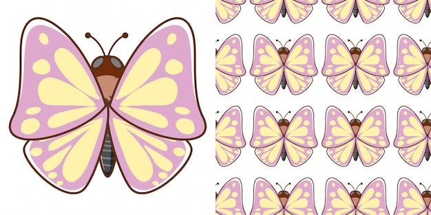 シームレスパターン美しい蝶のデザイン 無料ベクター