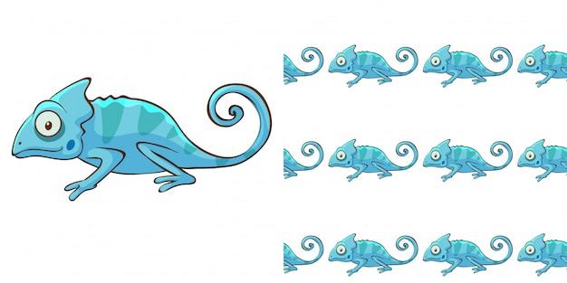 Design con camaleonte blu senza cuciture Vettore gratuito