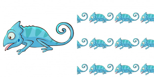Design with seamless pattern blue chameleon Free Vector