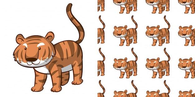 Дизайн с бесшовный узор милый тигр Бесплатные векторы