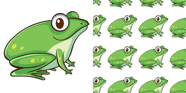 Design with seamless pattern green frog Free Vector