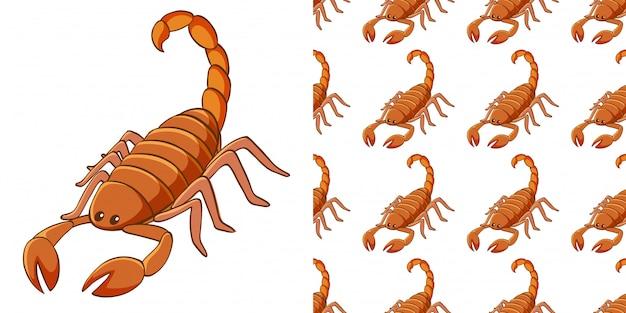 Дизайн с бесшовным рисунком скорпиона Бесплатные векторы