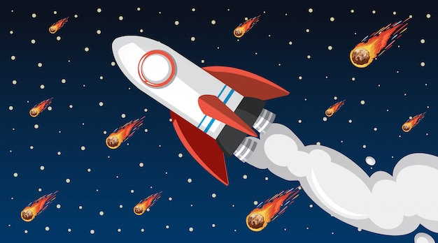 Design with spaceship flying in the sky Free Vector