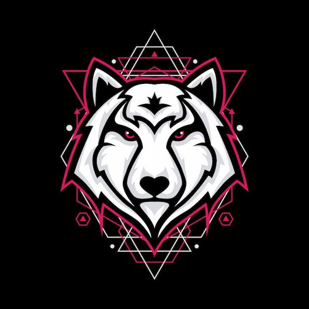 Design with wolf head on geometry Premium Vector