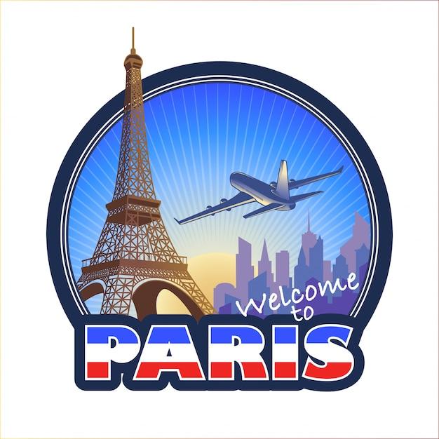 Emblema di viaggio progettato a parigi 2 Vettore gratuito