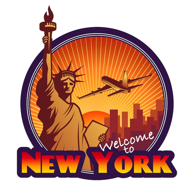 Designed travel label, new york Free Vector