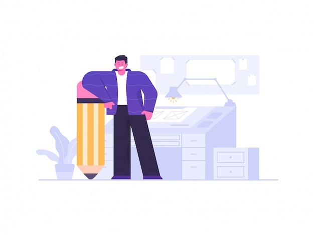 Иллюстрация концепции рабочего места дизайнера и художника Premium векторы