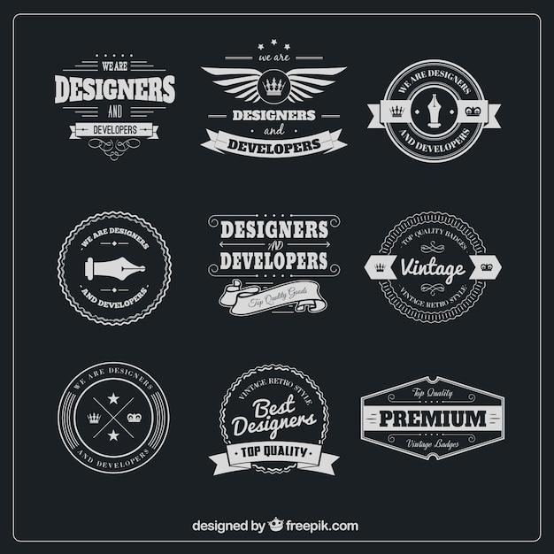 Designer badges pack Free Vector