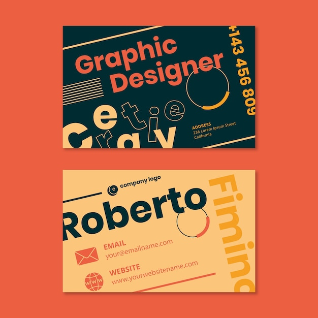 Designer business card template concept Free Vector
