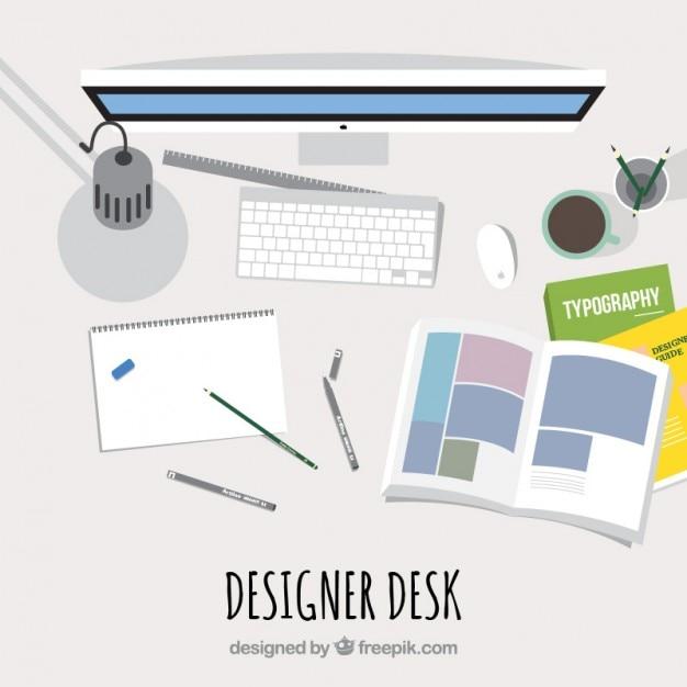 Designer Desk In Top View Vector Free Download