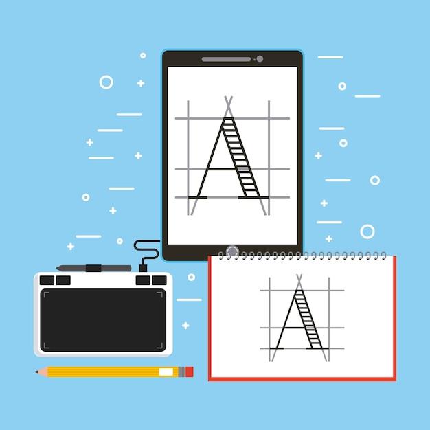 Designer drawing tablet book pencil and pen digital Premium Vector