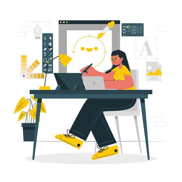Дизайнерская девушка концепции иллюстрации Бесплатные векторы