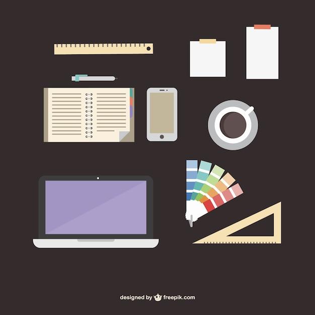 designer office supplies flat kit vector | free download