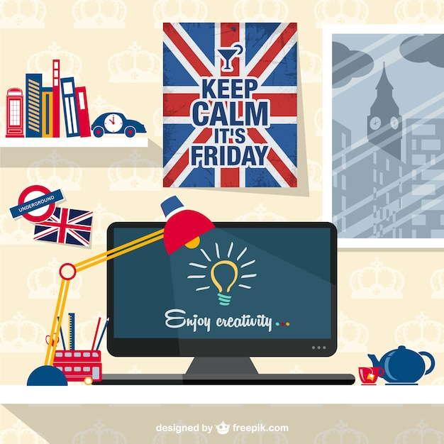 Designer's patriotic workspace  Free Vector