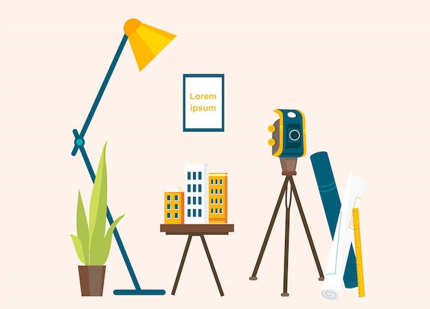Designer's workplace for creating projects Premium Vector