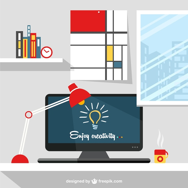 Designer 39 S Workspace Illustration Vector Free Download