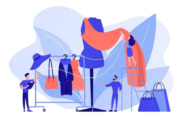 Команда дизайнеров работает над новой коллекцией одежды и кусочком ткани на манекене. индустрия моды, рынок стиля одежды, бизнес-концепция моды. розовый коралловый синий вектор изолированных иллюстрация Бесплатные векторы