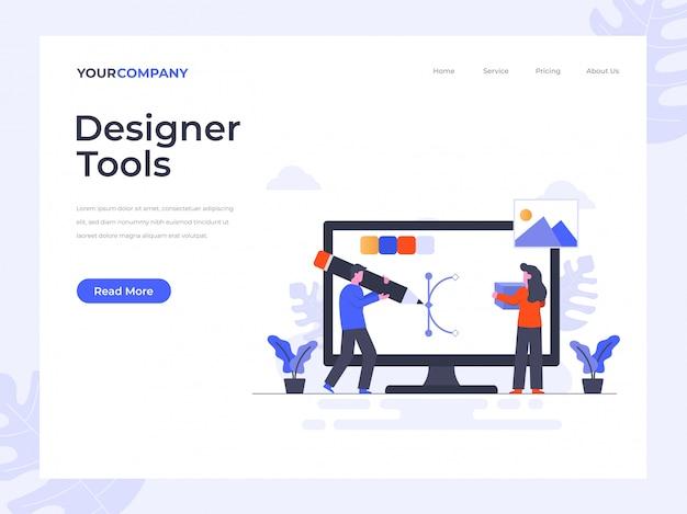 Целевая страница дизайнерских инструментов Premium векторы