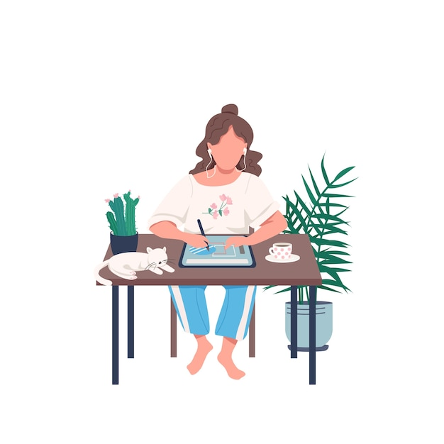 Designer with tablet flat color faceless character. remote class for artist. girl draw with pen on device. creative hobby isolated cartoon illustration for web graphic design and animation Premium Vector