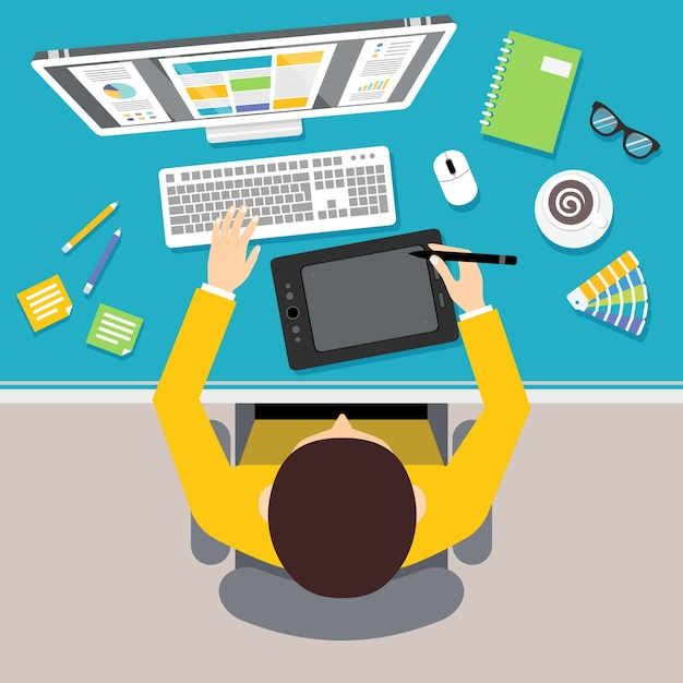 Designer work place with top view man sitting on table with monitor and drawing tools vector