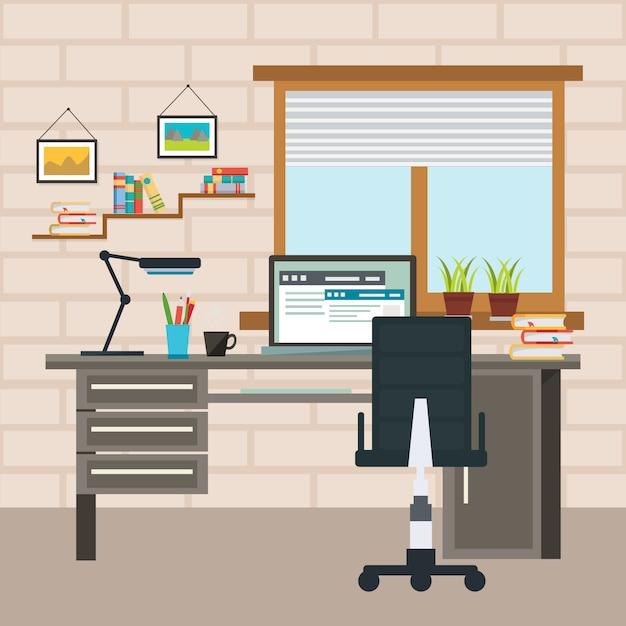 デザイナーの作業場所の構成 無料ベクター