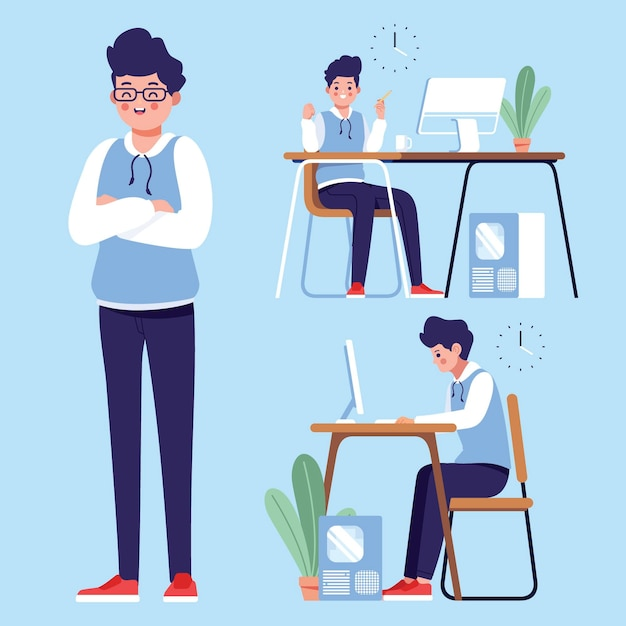 Designer working remote from home Premium Vector