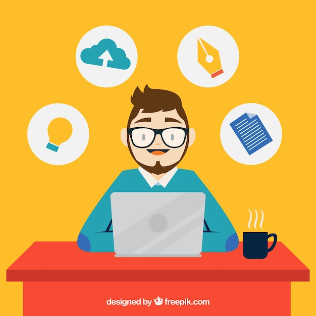 Designer working with his laptop Free Vector