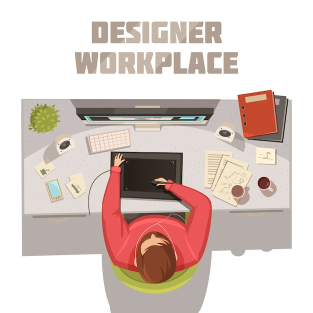 Designer workplace cartoon concept with coffee books and computer vector illustration Free Vector
