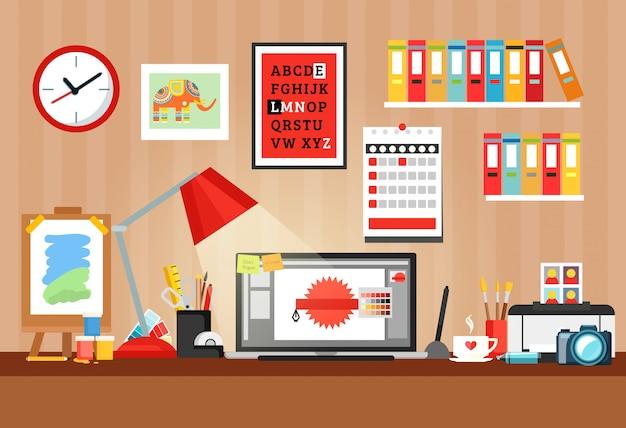 Designer workplace composition Free Vector