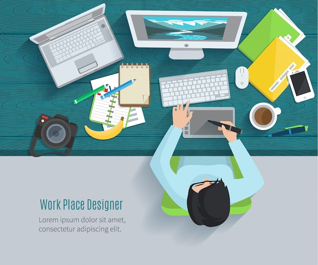 Designer workplace flat with top view woman at table and design gadgets Free Vector