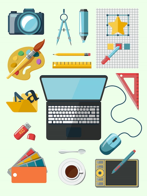 Designer workplace icons Free Vector